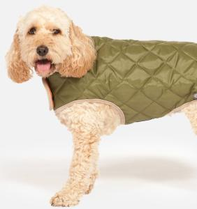 Danish Design Quilted Dog Coat Green 30cm